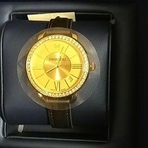 Swarovski Aila Gold watch with Dark Grey strap